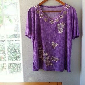 🦋 Purple lilac scooped neck top